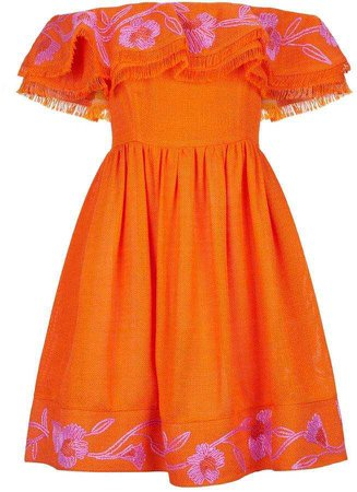Mary Katrantzou - Marietta off-the-shoulder embroidered canvas mini dress
