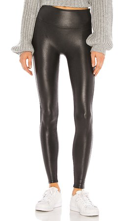 SPANX Petite Faux Leather Legging in Black | REVOLVE