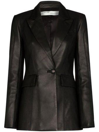 Black Off-White Logo-Print Leather Blazer For Women | Farfetch.com