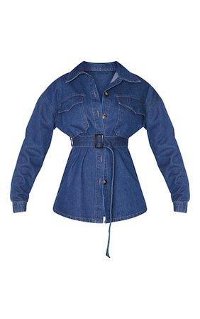 Dark Blue Wash Longline Oversized Denim Jacket   PrettyLittleThing