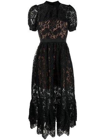 Self-Portrait lace-panelled midi dress - FARFETCH