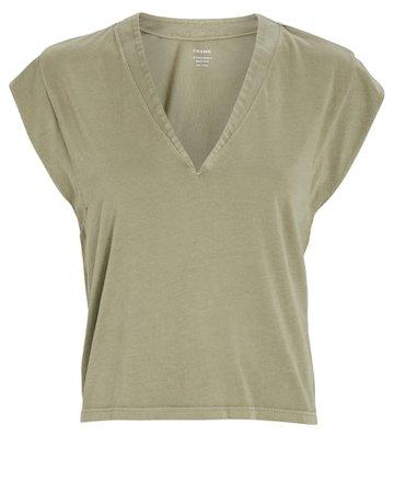 FRAME Le High Rise V-Neck Cotton T-Shirt   INTERMIX®
