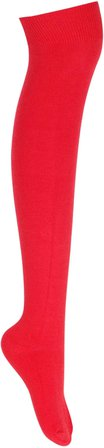 Pairs of Ladies Plain Over The Knee High Long Socks, 1 Pair, Red: Amazon.co.uk: Clothing