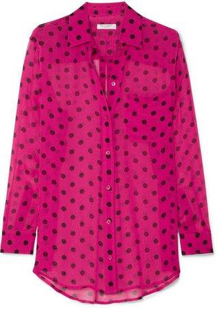 Polka-dot Silk-chiffon Shirt - Pink