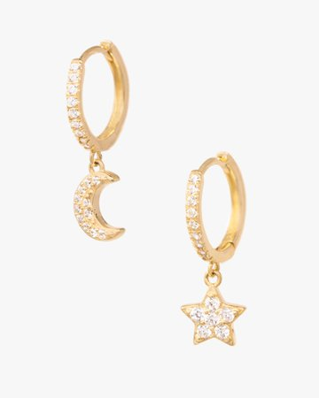 The Celeste | Moon and Star Gold Earrings | C&C Shop