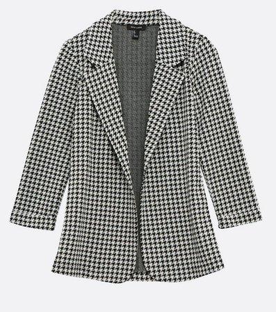 Black Dogtooth Jacquard Blazer   New Look