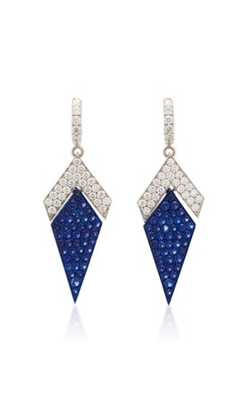 Busatti Arrow 18K White Gold And Sapphire Earrings