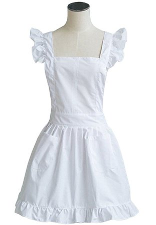 Amazon.com: LilMents Petite Maid Ruffle Retro Apron Kitchen Cooking Cleaning Fancy Dress Cosplay Costume (White): Clothing