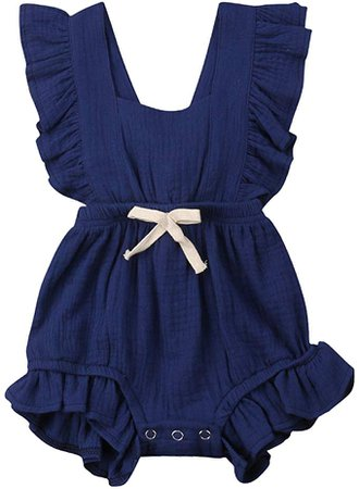 Qiylii Infant Baby Girl Ruffle Sleeve Romper One-Piece Bowknot Cotton Bodysuit Jumpsuit Outfit Clothes: Clothing