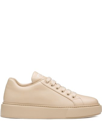 Prada Monochrome Low-Lace-Top Sneakers