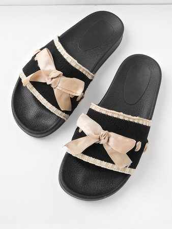 Bow Tie Detail Knit Slip On Sandals