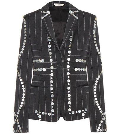 Embellished pinstriped blazer
