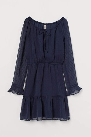 Short Chiffon Dress - Blue
