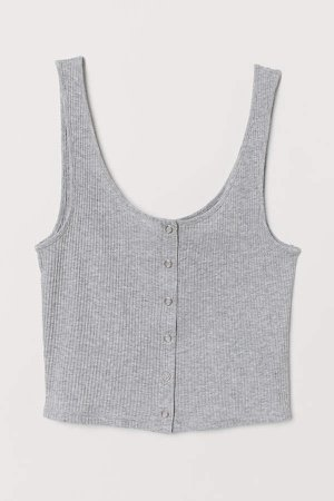 Tank Top with Snap Fasteners - Gray