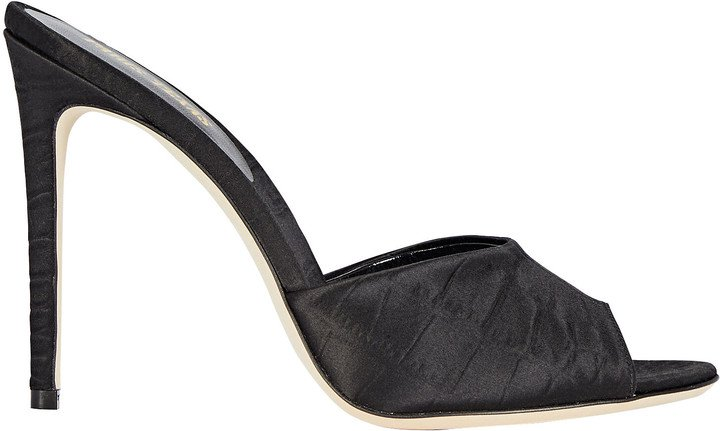 Croc-Embossed Satin Slide Sandals