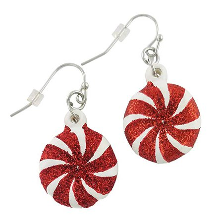 Amazon.com: Christmas Fashion Earrings | Fun Holiday Red and White Single Peppermint Candy Earrings | Women and Girls Xmas Jewelry: Clothing