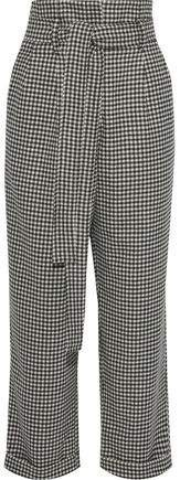 Belted Houndstooth Wool Wide-leg Pants