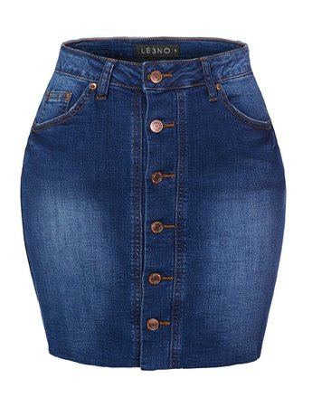 LE3NO Womens Casual Vintage High Waist Button Down Mini Skirt With Pockets | LE3NO blue