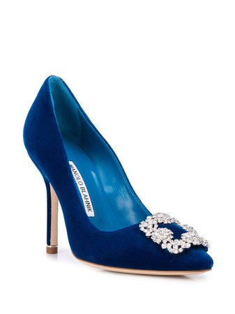 Manolo Blahnik Embellished Buckle High-Heel Pumps