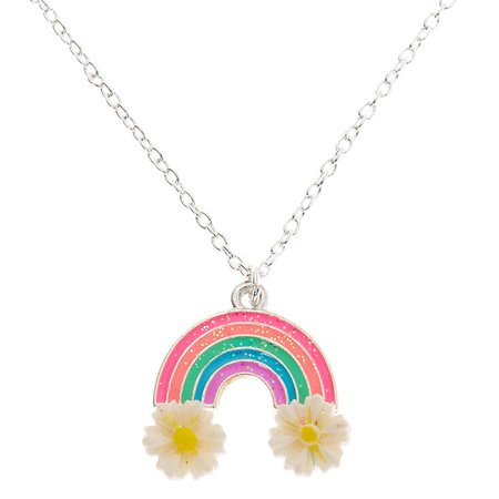 Silver Flower Rainbow Pendant Necklace | Claire's US