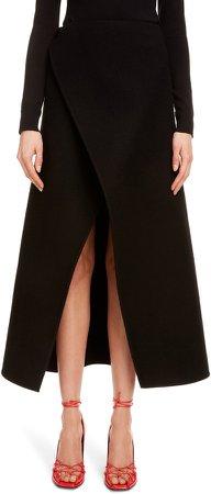 Wrap Front Wool Midi Skirt