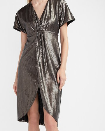 Sequin Wrap Front Dress
