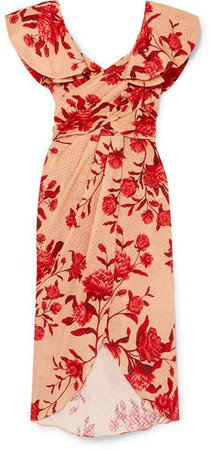 Ruffled Floral-print Broderie Anglaise Cotton Midi Dress - Pink