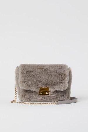 Faux Fur Shoulder Bag - Gray