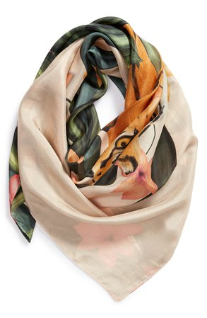 Echo Tiger & Floral Print Square Silk Scarf | Nordstrom