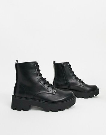 Bershka lace front chunky boots in black   ASOS