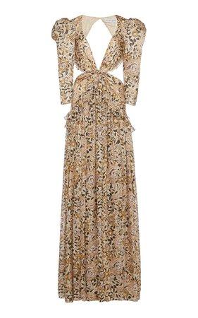 Tundra Cutout Printed Metallic Silk Maxi Dress By Etro | Moda Operandi