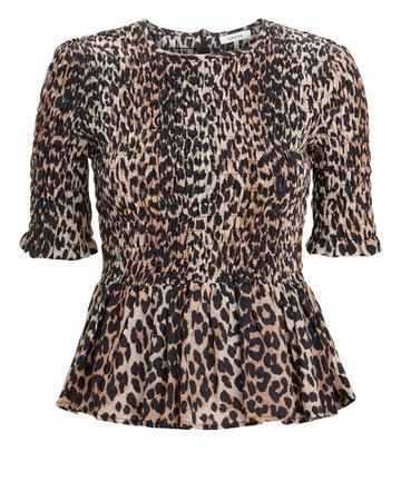 Leopard Print Smocked Top