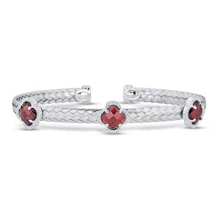 Garnet Braided Cuff Bracelet Sterling Silver | Kay