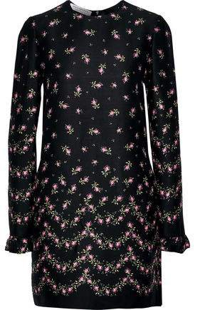 Ruffle-trimmed Floral-print Crepe Mini Dress
