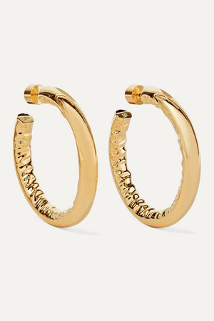 "Jennifer Fisher | 1.5"" Baby Jennifer gold-plated hoop earrings 