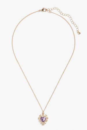 Heart pendant necklace - Gold metal - Necklaces - Monki
