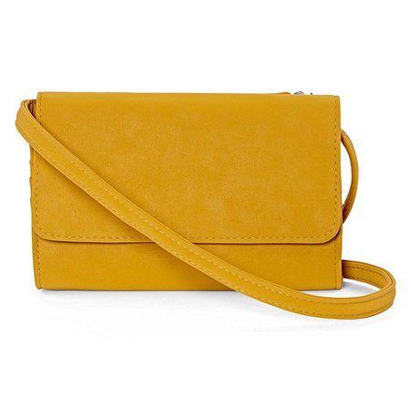 Double Compartment Wallet Crossbody Bag, Color: Yellow - JCPenney