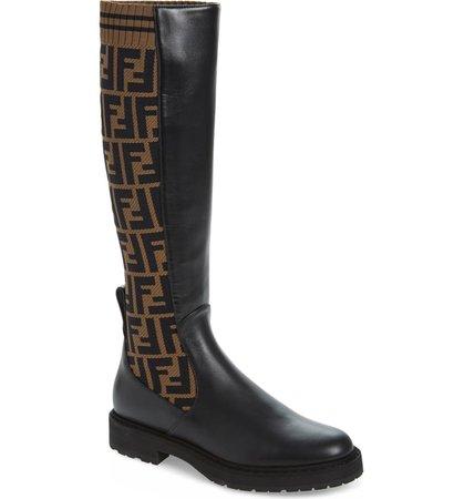 Fendi Rockoko Logo Sock Knee High Boot (Women) | Nordstrom