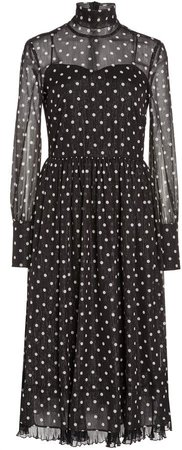 Red Valentino Polka Dot Organza Midi Dress