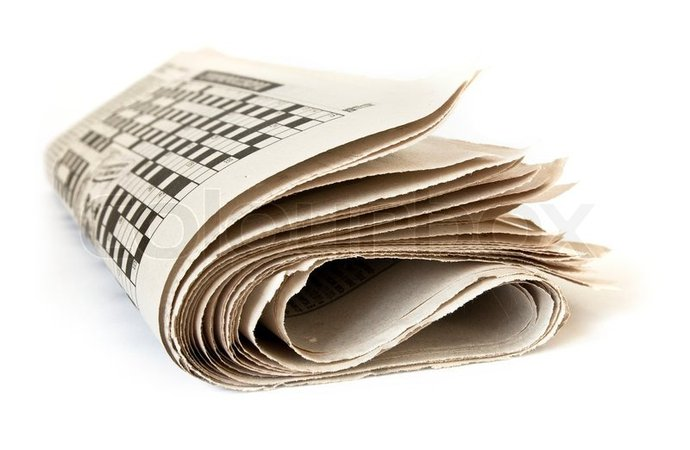 Fold up newspaper isolated on white background | Stock Photo | Colourbox