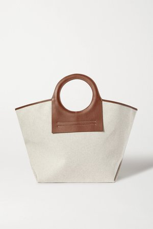 Beige + NET SUSTAIN Cala large leather-trimmed canvas tote | HEREU | NET-A-PORTER