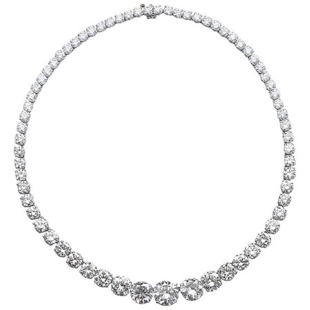Diamond Platinum Rivière Necklace 64 Carat | $620,770