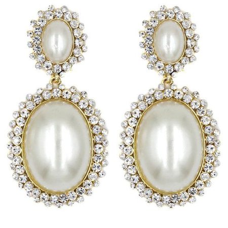 Elegant simulated pearl and crystal stud earrings