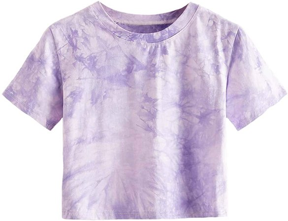MakeMeChic Women's Short Sleeve Cute Print Crop Top Summer Tee Shirt Sky Blue L at Amazon Women's Clothing store