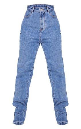 Mid Blue Wash Long Leg Straight Jeans   Denim   PrettyLittleThing