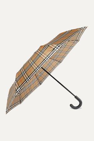 Beige Trafalgar checked shell umbrella | Burberry | NET-A-PORTER