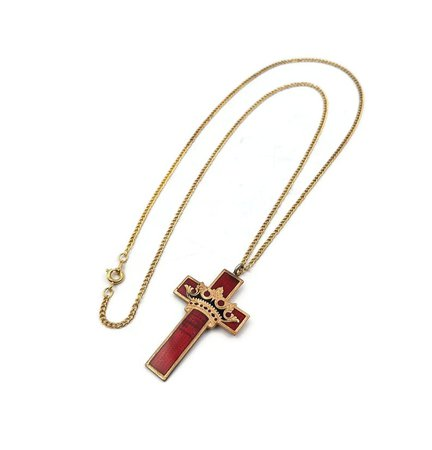 French Champleve Enamel Cross Pendant Necklace Red Black   Etsy
