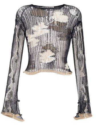 Acne Studios Floral Knit Jumper - Farfetch