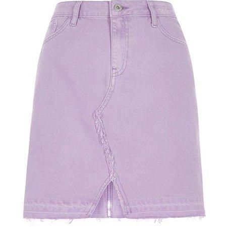 River Island Light purple released hem denim mini skirt ($36)