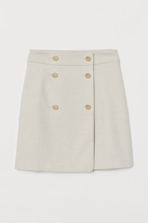 Double-buttoned Skirt - Beige
